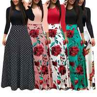 New Women Plus Size Bohemian Long Sleeve Maxi Dress Color Block Polka Dot Floral Patchwork Bodycon Empire Waist Vintage S-2XL