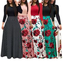 New Women Plus Size Bohemian Long Sleeve Maxi Dress Color Block Polka Dot Floral