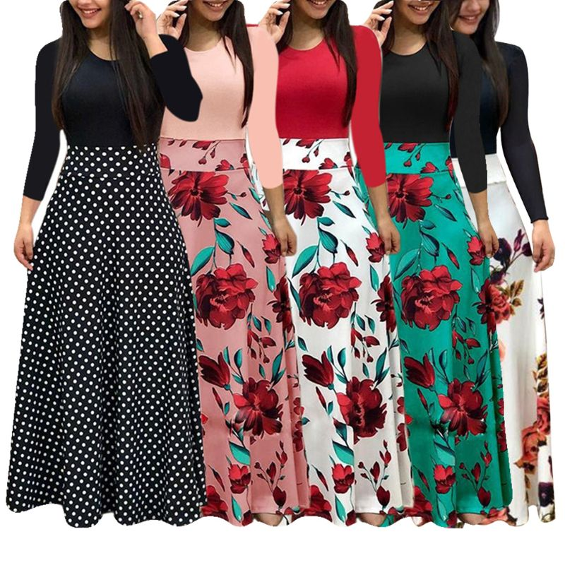 New Women Plus Size Bohemian Long Sleeve Maxi Dress Color Block Polka Dot Floral Patchwork Bodycon Empire Waist Vintage S-2XL