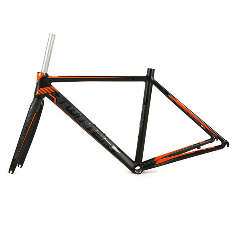 Road Bike Frame 700C Wheel Racing bicycle frame Aluminium alloy road Frame 44/46/48/50/52CM+carbon Fork 53cm 55cm 58cm fixed gear bike frame matte black bike frame fixie bicycle frame aluminum alloy frame with carbon fork
