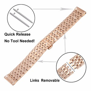 Image 3 - Diamond Watchband for Samsung Galaxy Watch 42mm 46mm Active 2 40mm 44mm Band Stainless Steel Strap Women Men Jewelry Bracelet