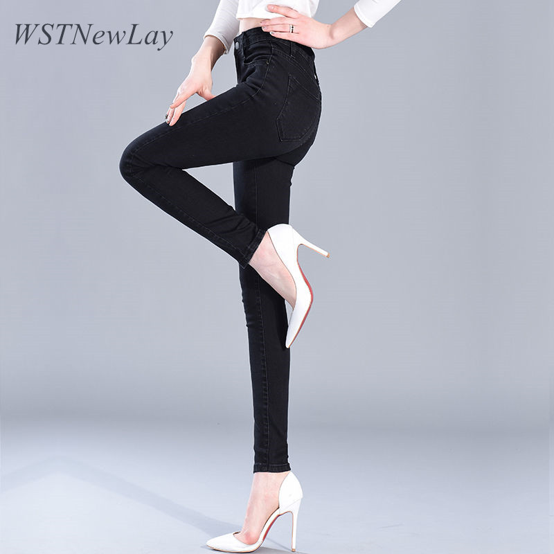 2019 Spring Women Skinny High Waist   Jeans   Blue Denim Pencil   Jeans   Stretch Woman Vintage cotton Stretch Full Length Slim Pants