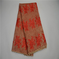 2017 Latest African French Cord Lace Fabric High Quality Guipure Lace Red African Tulle Lace With