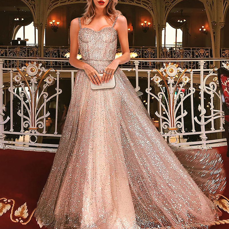 Sexy Spaghetti Strap Elegant Shiny Dress Evening Party Vestido Women Mesh Glitter Maxi Dress Female 2019