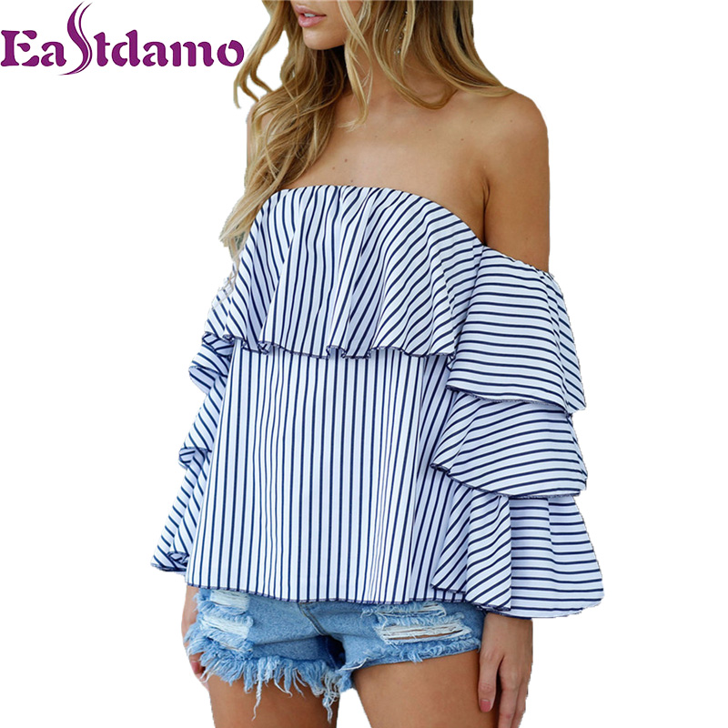 02bc7802eecea Eastdamo Off Shoulder Ruffles Blouse Sexy Tops 2017 Casual Blue White  Striped Shirt Long Butterfly Sleeve Slash Neck Elegant Top-in Blouses    Shirts from ...
