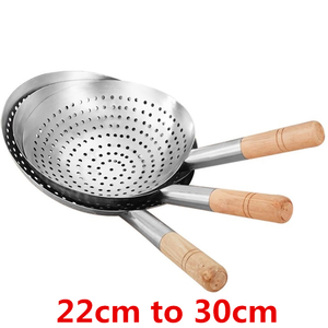 Strainer Cookware Wok Kitchen Stainless-Steel Big Colander Sifter Oil-Flour Mesh Wooden-Handle