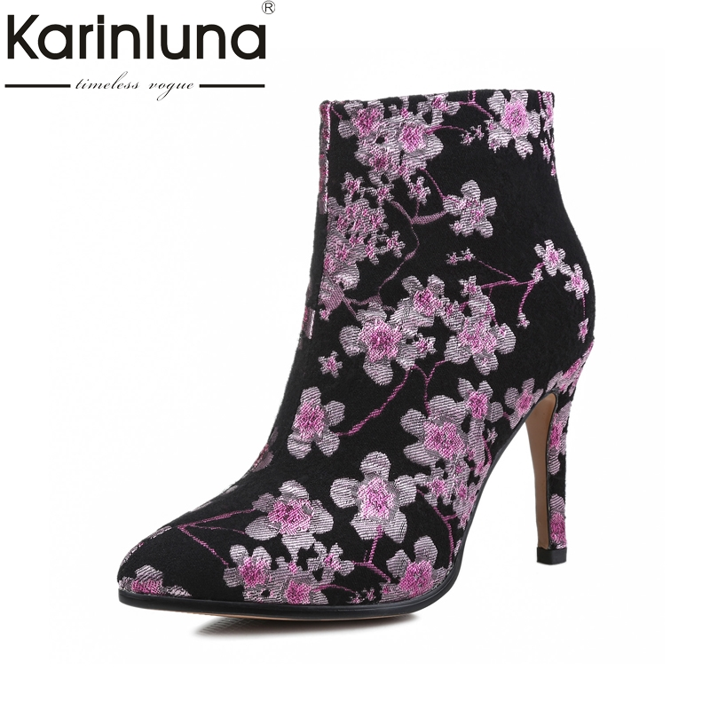 KARINLUNA Genuine Leather Suede Big Size 34-43 Women Embroidery Flower Autumn Winter Shoes High Heels Pointed Toe Ankle Boots qplyxco 2017 new big size 34 47 ankle boot short autumn winter sexy women s pointed toe high heels wedding party shoes 584 2