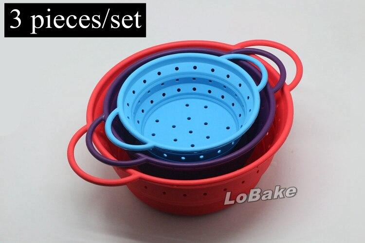 3 pieces set Folding washing draining silicone bowl basket fruit vegetable tools easily folded taking
