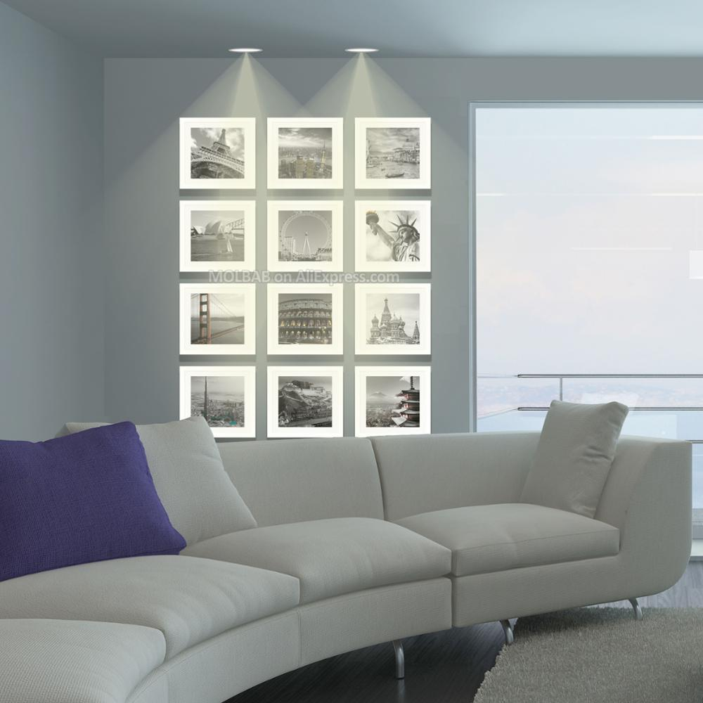 Molbab madera cuadrado foto pared marco 12 unids conjunto moderno ...