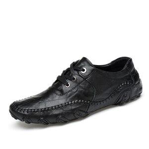 Image 3 - Mode Britischen Stil Männer Casual Schuhe Loafers Echtes Leder Männer Schuhe Outdoor Leder Schuhe Männer winter schuhe zapatos hombre