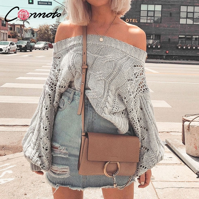 Conmoto Hollow Out Casual White Women Sweater Off Shoulder Sweater Pullovers Knitted Sweater Autumn Winter 2018 Sweaters Jumper