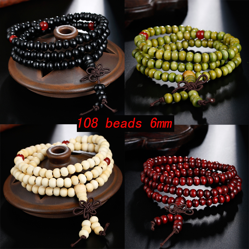 Natural Sandalwood Buddhist Buddha Prayer Bracelets Prayer Bead  Mala 108 Beaded 6mm Stretch Women Men Bracelets