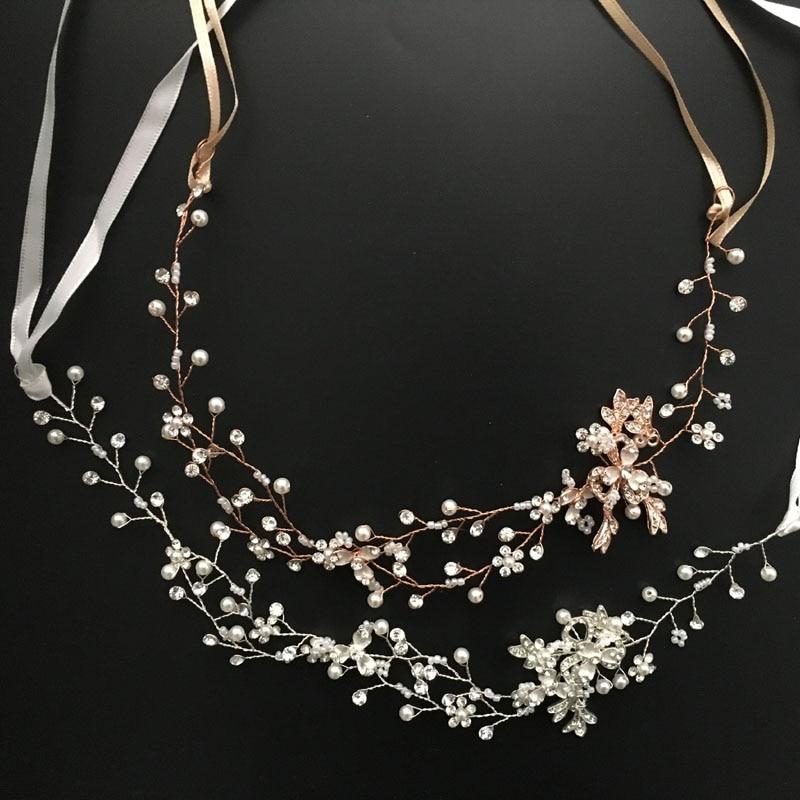 SLBRIDAL Rose Gold Crystal Rhinestone Pearls Wedding Hair accessories Hair Vine Hairband Bridal Headband Bridesmaids Jewelry