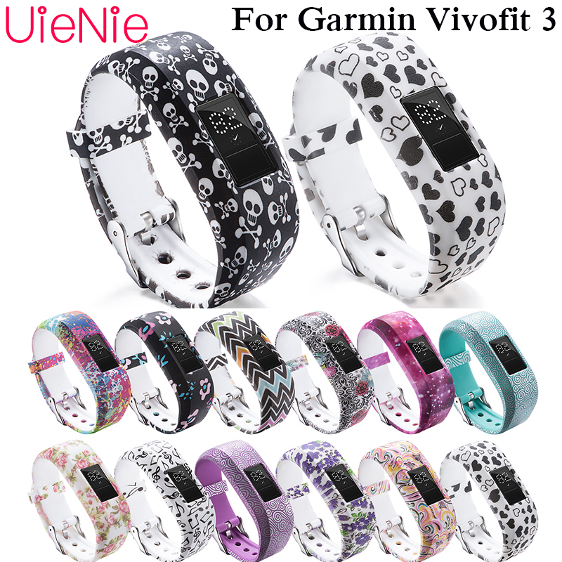 Soft silicone bracelet wristband for Garmin Vivofit 3 watch Colorful printed strap with metal buckle band Adjustable