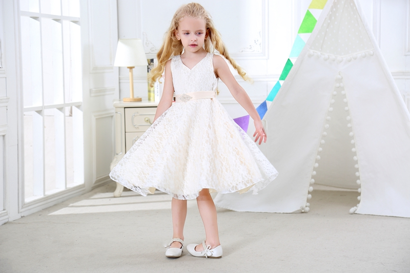 SISRERS Girls party wear clothing for children summer sleeveless lace princess wedding dress girls teenage well party dress 4