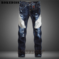 High Quality Ripped Jeans Men 2017 New Designer Embroidery Denim Overall Mens Elastic Skinny Jeans Brand