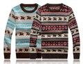 Homens casual o pescoço pulôver blusas veados Natal red & blue man camisola de malha masculina camisola roupas pulôveres dos homens camisola MWS004