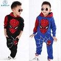 2016 Crianças Spiderman Hoodies Menino Terno Camisola + Harem Pants Terno Do Lazer Terno dos Esportes das Crianças Roupas roupas crianças meninas