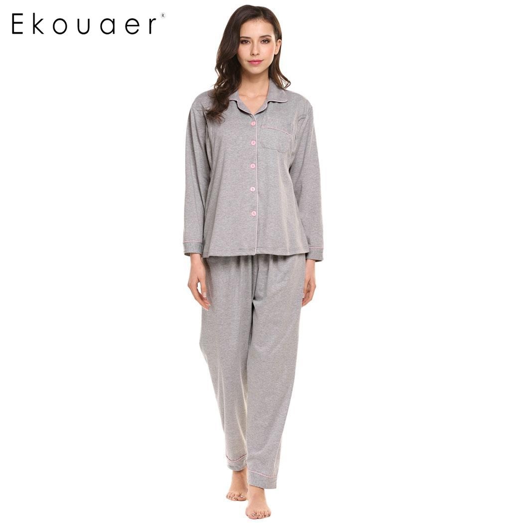 Ekouaer Women Pajamas Set Long Sleeve Button-Down Shirt and Elastic Waist Bottom Breastfeeding Nursing Maternity Sleepwear Suit