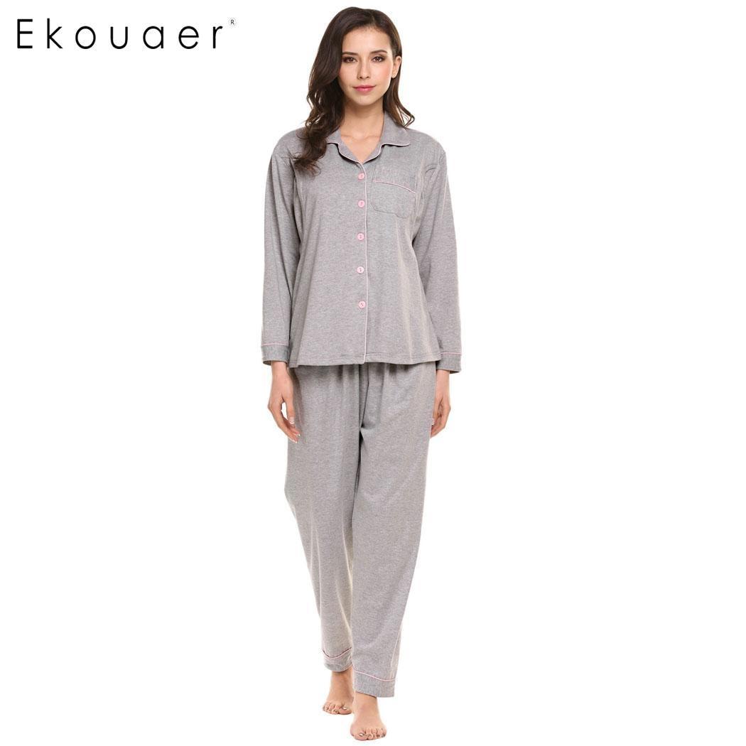 Ekouaer Women Pajamas Set Long Sleeve Button-Down Shirt and Elastic Waist Bottom Breastfeeding Nursing Maternity Sleepwear Suit
