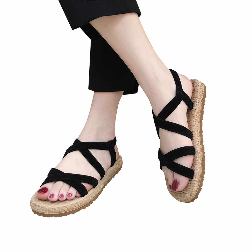 SAGACE women sandals 2019 hot fashion Women Summer Beach Roman Sandal ladies Open Toe flat sandal Casual female shoes