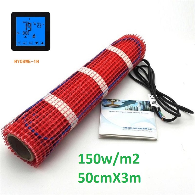 1.5m2 Electric Underfloor Heating Mat 150W/M2 50cmX3m Under Tile Warming Mat With Thermostat