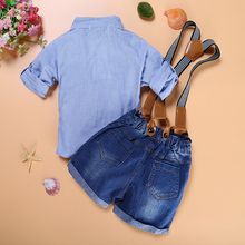 Boy Suspender Strap Shorts + T-Shirt