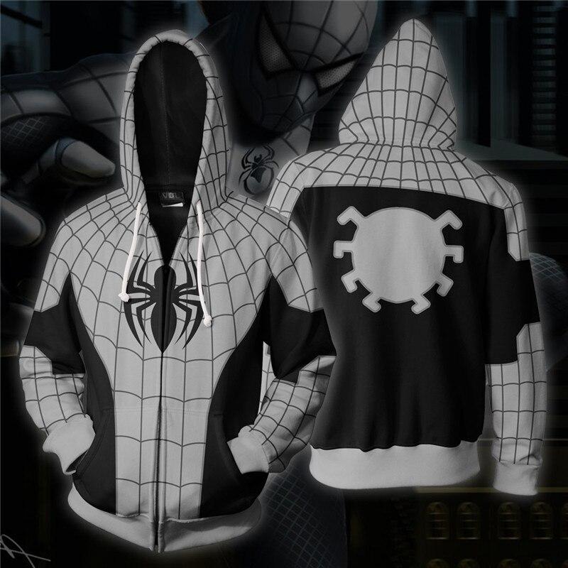 Armored Spiderman Cosplay Costume Men's Sweatshirt Hooded Uniform Streetwear Women Mens Hoodies Zipper Hoddies