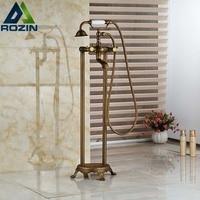 Brass Antique Free Standing Clawfoot Bath Tub Filler Faucet Floor Mounted Dual Cross Handles