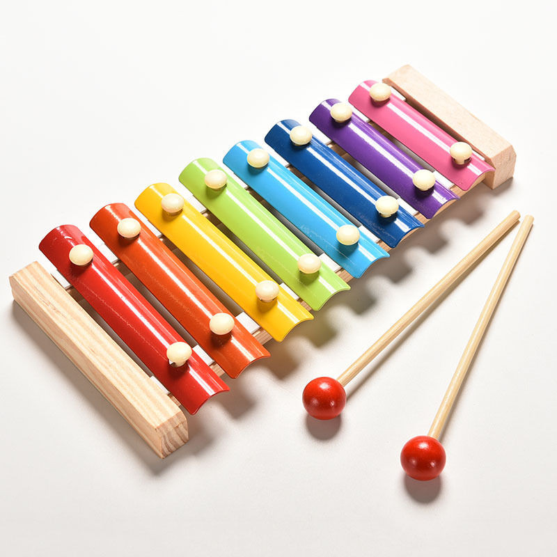 KQ/_ Wooden 7 Tone Chime Xylophone Percussion Instrument Kids Musical Toy New