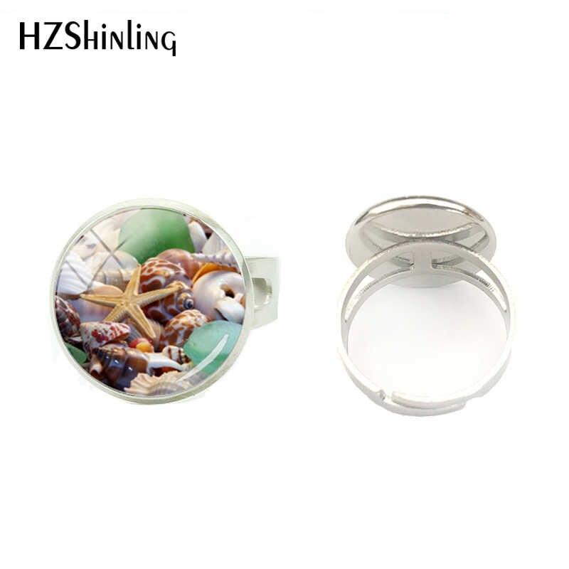 Nueva belleza conchas y gemas fotos cristal cabujón Color plata anillo regalo para niñas mujeres hecho a mano joyería anillo accesorio