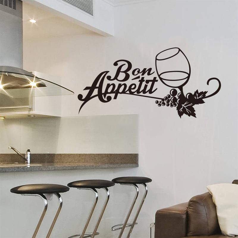 US $6.64 5% OFF Französisch küche vinyl wand aufkleber wandbild applique  kunst wein glas Bon Appetit tapete küche wand aufkleber hause dekoration ...