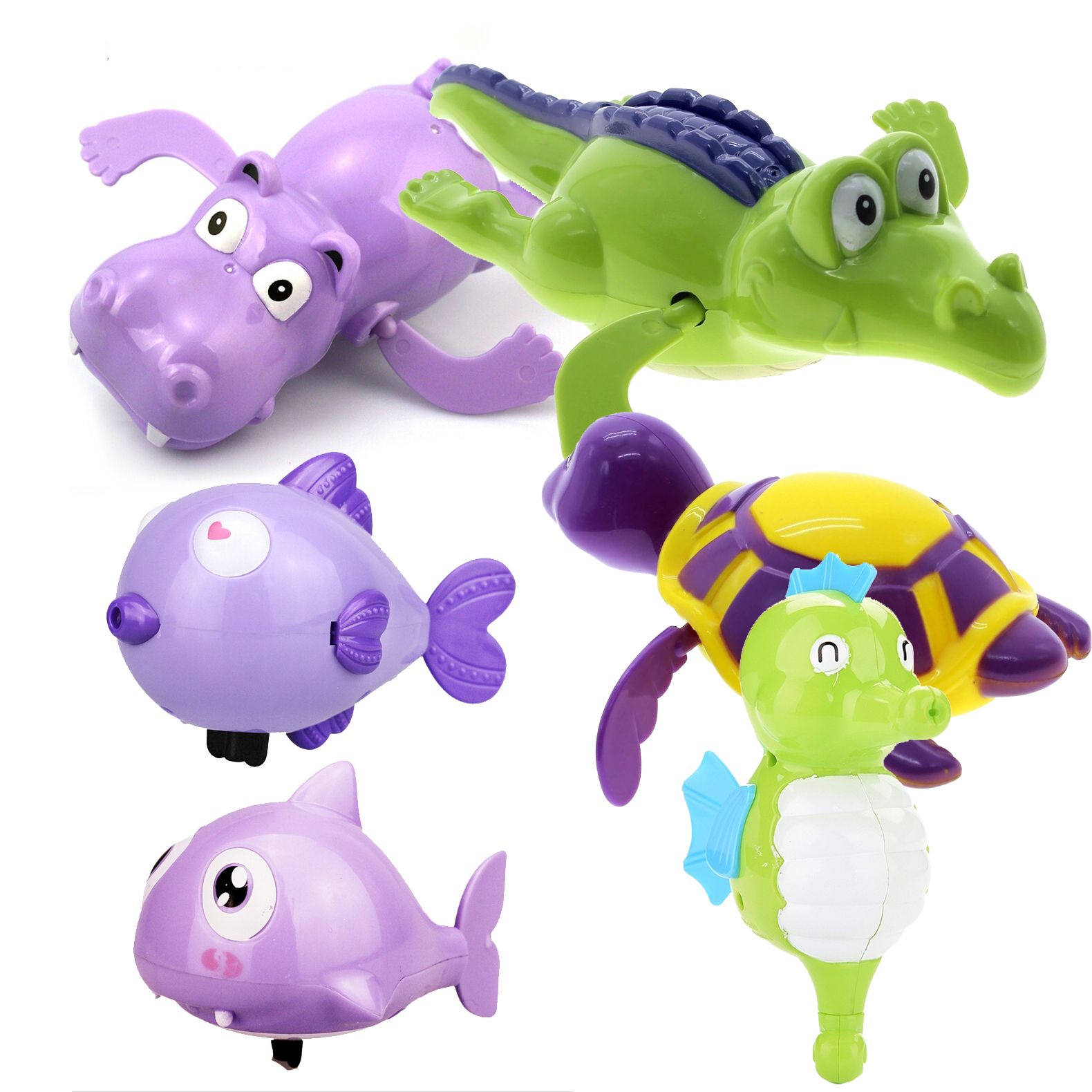 Hot Shower Kids Bath Toys Plastic Baby Wind Up Clockwork Swimming