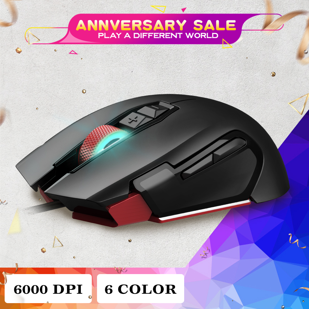 HEXGEARS Gaming Mouse Wired 6000 DPI Metal Wheel 7 Button usb Mice RGB Programmable Computer Game