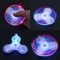 Loudspeaker Box Luminous Fidget Spinner Crystal Transparent Bluetooth Music Hand Spinner Fingertip Gyro Adults Kid Toys