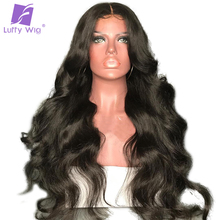 Luffy Body Wave Non Remy Brazilian Silk Base Full Lace Human Hair Wigs With Baby Hair For Black Women Natural Color 130% Density