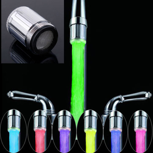 2018 New LED Water Faucet Stream Light 7 Colors Automatically Changing Glow Shower Tap Head Kitchen Pressure Temperature Sensor