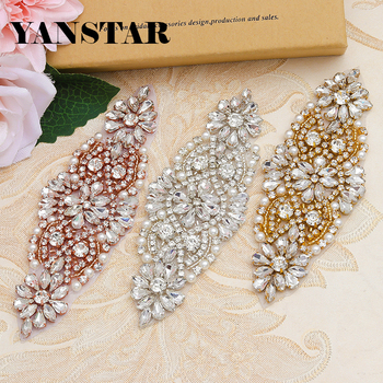 YANSTAR Wholesal(30PCS) Hand Rhinestones Appliques For DIY Bridal Belt Rose Gold Crystal Rhinestones Appliques YS850 фото