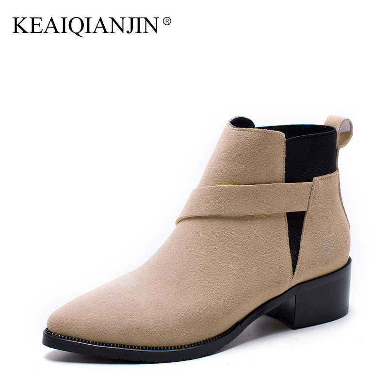 KEAIQIANJIN Woman Genuine Leather Martens Boots Plus Size 33 - 43 Autumn Winter Black Apricot Shoes Genuine Leather Ankle Boots keaiqianjin woman genuine leather martens boots black beige plus size 33 43 autumn winter shoes genuine leather ankle boots