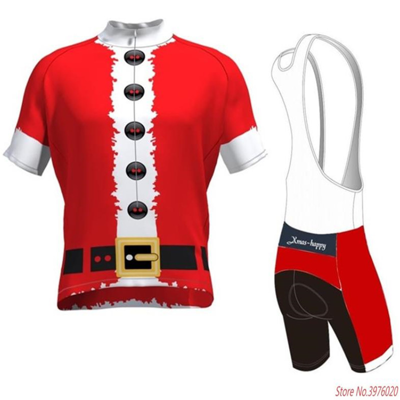 Cycling Jerseys Set 2019 Santa Christmas Gift Bike Clothing Bicycle Wear Short Sleeve Ropa Ciclismo Men Cycling Xmas-happy