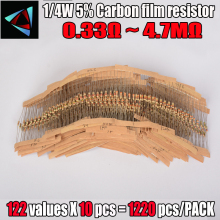 Купить с кэшбэком 0.33R-4.7M ohm 1/4W 0.25W 5% DIP carbon film resistor,122valuesX10pcs=1220pcs, RESISTOR Assorted Kit, Sample bag Free shipping