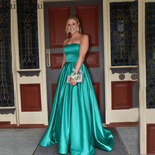 SINGLE ELEMENT Emerald Green Prom Dress With Pocket Beaded