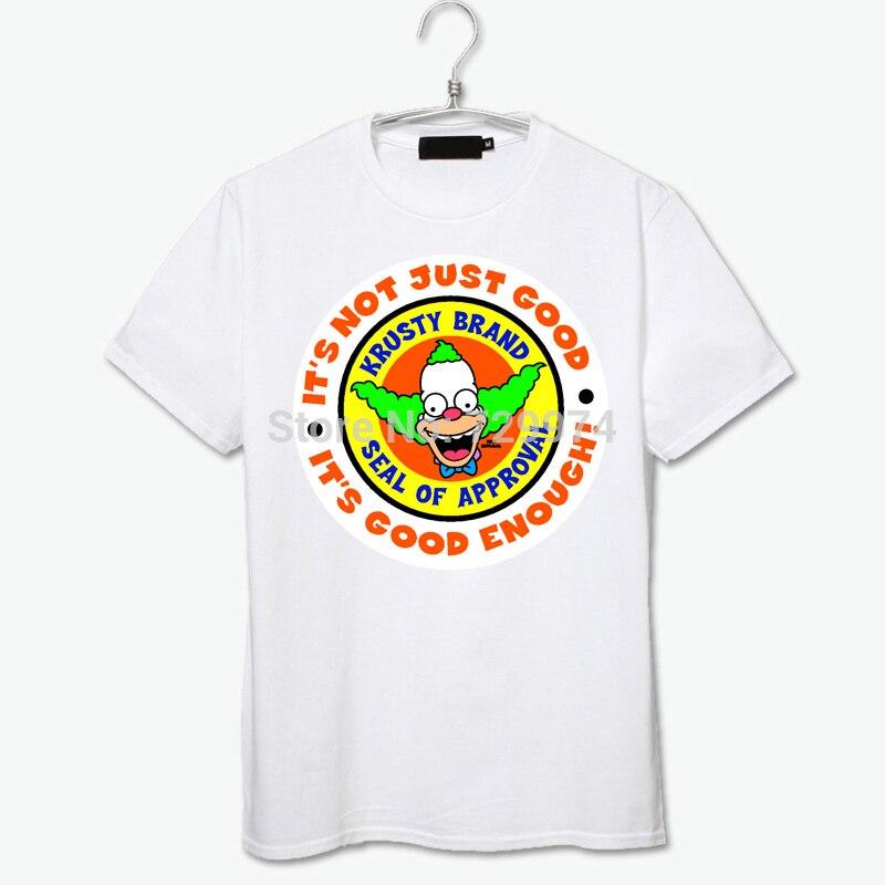 krusty the clown it's good enough tee shirt cartoon fashion brand new