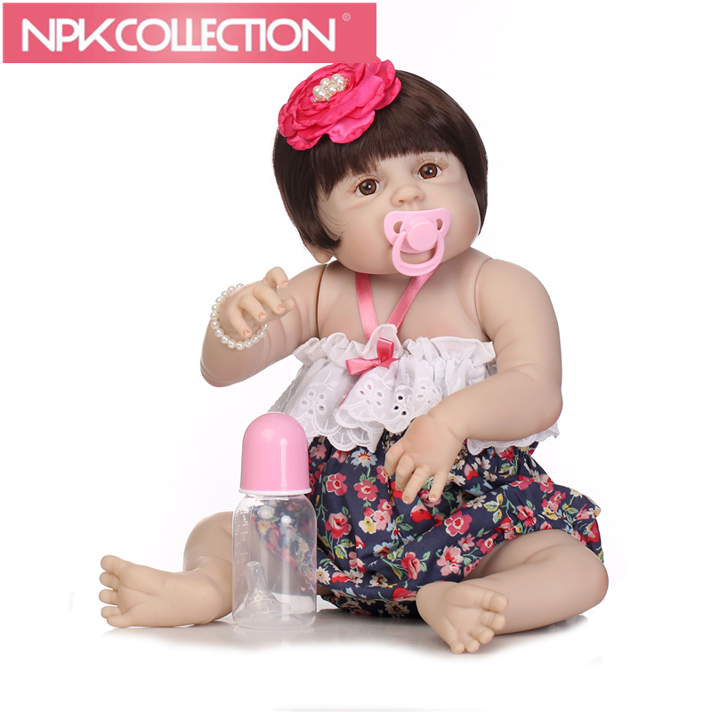 New style 23 Inch Lifelike Newborn Girl Baby Dolls Full Realistic Reborn Babies Look Real Kids Birthday Xmas Gift N150-1 23 russian silicone reborn baby girl full body vinyl dolls touch real baby dolls lifelike real hair new 2017 kids playmates