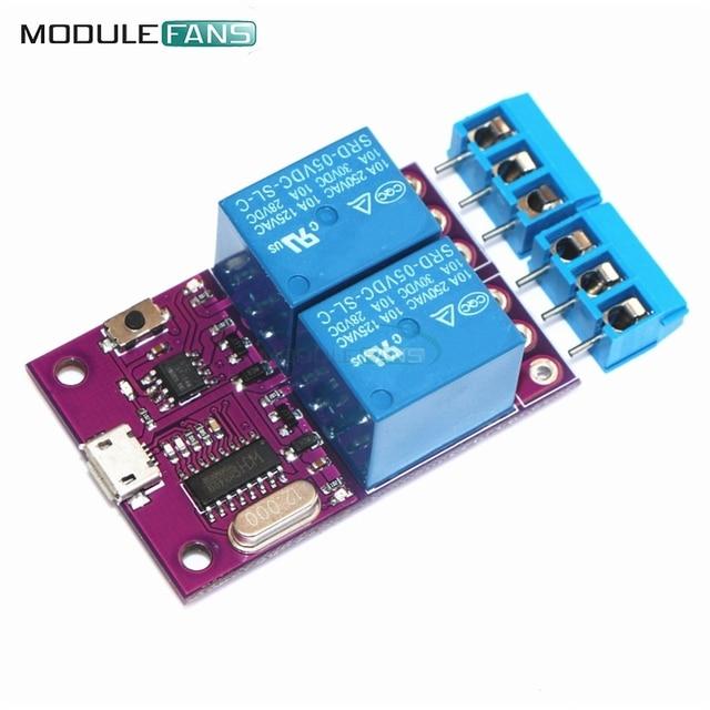 c5a91b33ae3 Relé de retardo de módulo 5 V 2 canal inteligente USB interruptor de  Control MCU microcontrolador