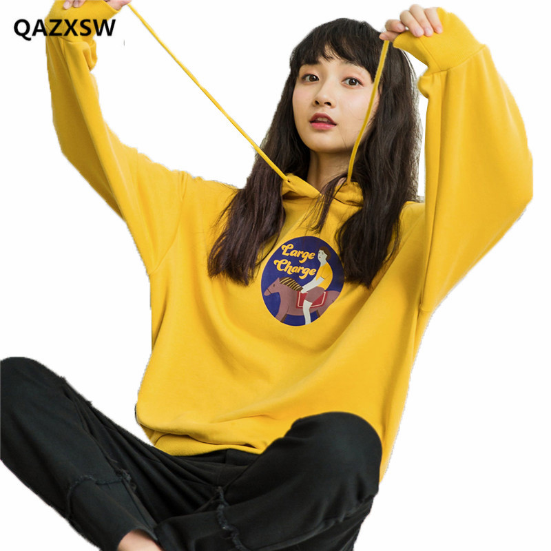 2019 nouveau jaune Sweatshirts femme à manches longues coréen lâche BF à capuche Harajuku Style pull dessin animé étudiant automne bts SY072