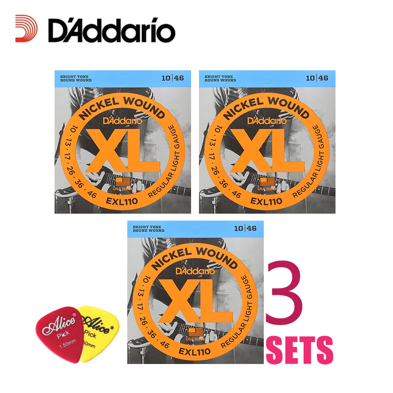 3 Packs! D'Addario DAddario Electric Guitar Strings XL Nickel Wound EXL110, 115, 120, 125, 3 Packs Set. Guitar Strings 10-46