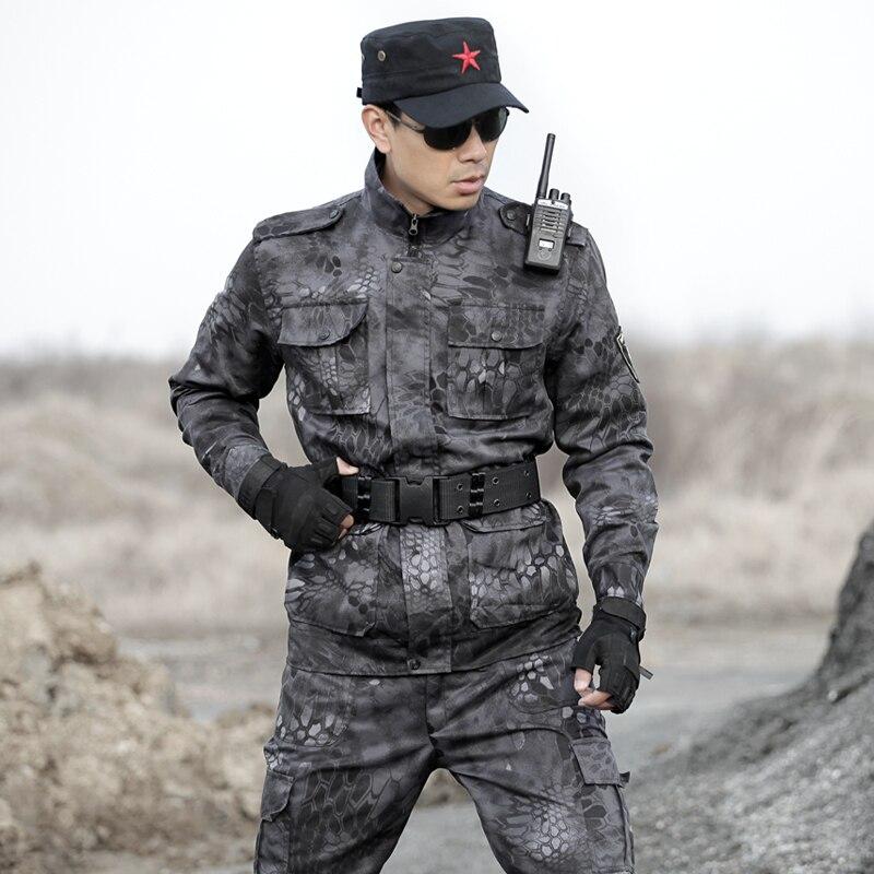 Hommes Camouflage Costume de Chasse Vêtements Multicam Noir Costumes Ghillie Python Armée Militaire Tactique Vestes + pantalon Uniformes de Combat