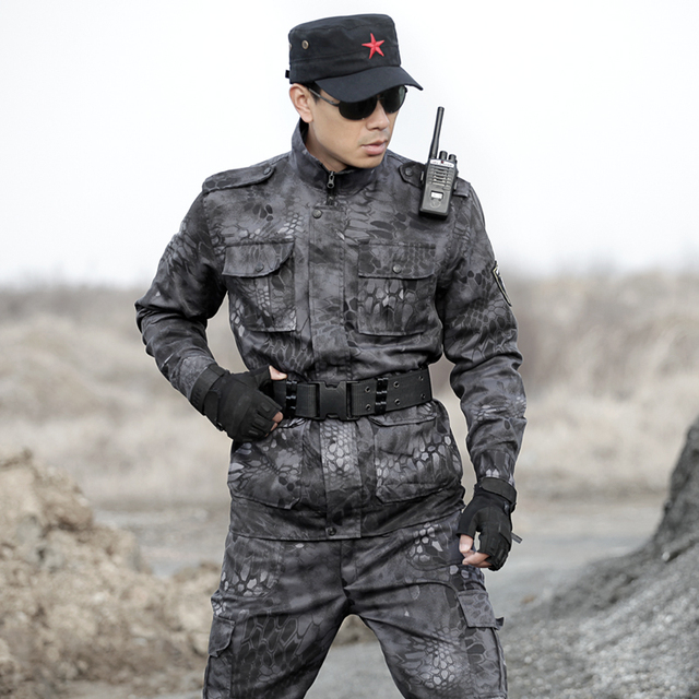 Mens Multicam Black Camouflage Suit Hunting Ghillie Suits Clothes Python Army Military Tactical Jackets pants Combat Uniforms