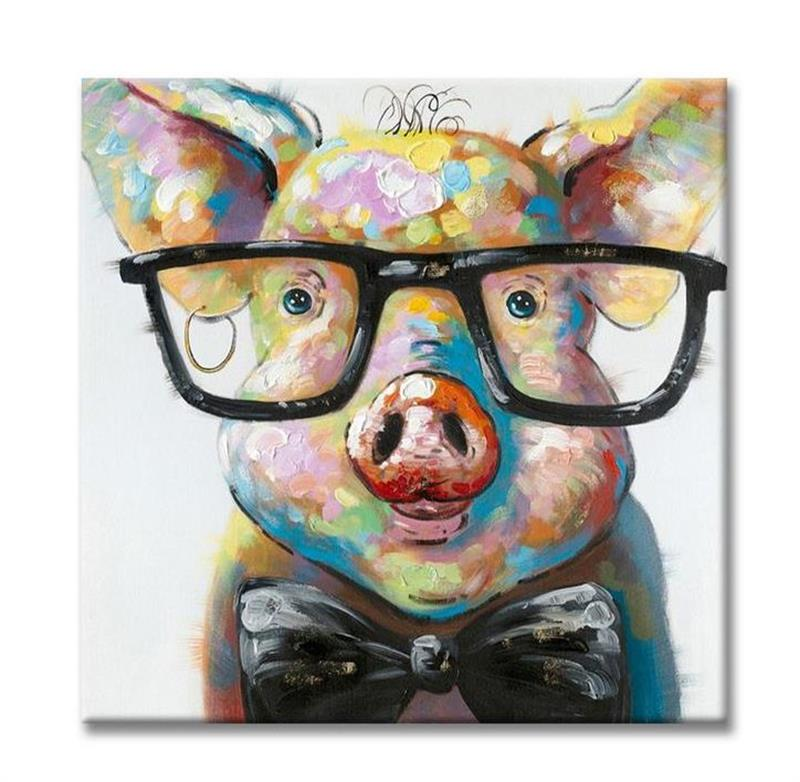 Modern animal oil paintings cute pig with glasses hand for Where to buy canvas art